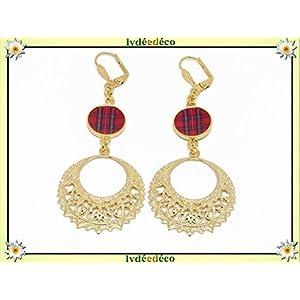 Ohrringe creole ohrringe 24K gold harz schottische tartan rot schwarz Outlander gold individuelle geschenke weihnachten freunde geburtstag zeremonie hochzeit gäste muttertag