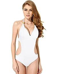 Femme Sexy Maillots De Bain Dos Nu Une Pièce Sangles Avec Métal Bikini Monokini