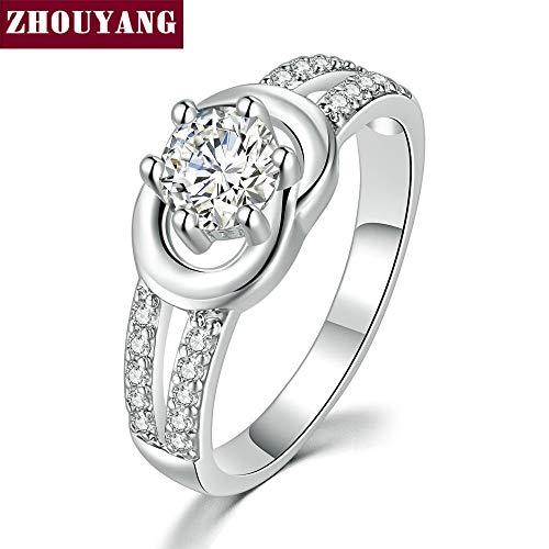 ZUXIANWANG Der Ring Frauen Ring Six-Claw Zirkonia Silber Hochzeit bestellen Hochzeit Modeschmuck, 10.