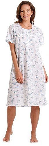 cotton Kurz oder Langarm Blumen Nachtkleid, Pyjamas, in Pink oder Blau Größe 10-36 (14-16, Blau-Kurzarm-Nachthemd Blumendruck) (Polyester Nachthemd)