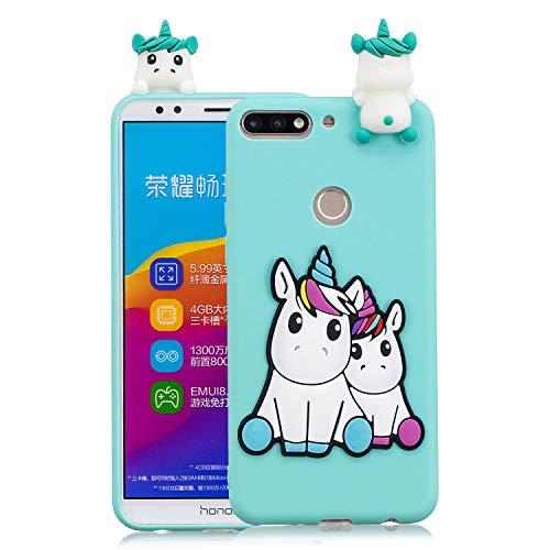 Funluna Funda Huawei Y7 2018 / Honor 7C, 3D Unicornio Patrón Cover TPU Suave Carcasa Silicona Gel Anti-Rasguño Protectora Espalda Caso Bumper Case para Huawei Y7 2018 / Y7 Prime 2018 / Honor 7C