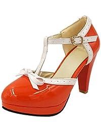 830cbb0ea08a YE Escarpin Talon Haut Plateforme Mary Jane Boucle Cheville Rockabilly Ete  Femme Vernis Noeud Chaussure Cosplay
