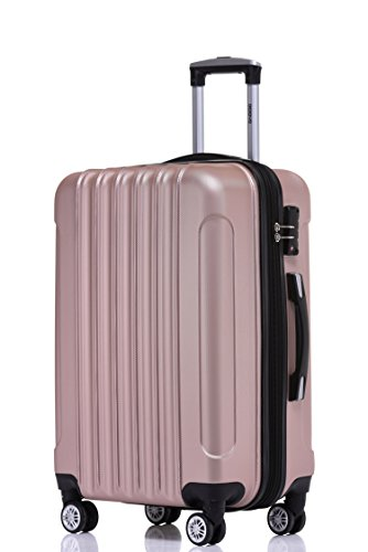BEIBYE BEIBYE Zwillingsrollen 2050 Hartschale Trolley Koffer Reisekoffer in M-L-XL-Set in 12 Farben (Rosa Gold, Mittler Koffer (66cm)+TSA Schloß)