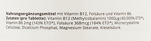 VEGAVERO® Vitamin B12 | 1000µg Methylcobalamin + B6 + Folsäure | 365 Tabletten (12-Monatsvorrat) | Ohne chemische Zusatzstoffe | Hergestellt in Deutschland | Energie - Nervensystem* | Vegan