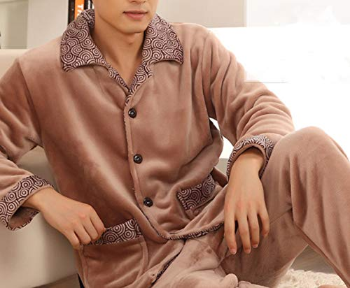 JZX Men's Coral Velvet Pajamas, Increase The Fertilizer and Flannel Water Velvet Suit Home Service,Couleur du sucr,XL