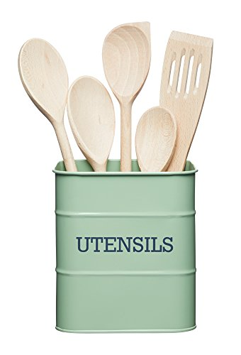 "Kitchencraft Living Nostalgia Kitchen Recipiente para Utensilios de Cocina de Metal, 15 x 15 x 16 cm (6 ""x 6"" x 6,5 "") – English Sage, Acero, Verde, 14,5 x 14,5 x 16 cm"