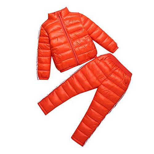 LSERVER Winterkleidung Kinder Daunenjacke Anzug Sport Zweiteilige, Orange, 122/128(Fabrikgröße: 130)