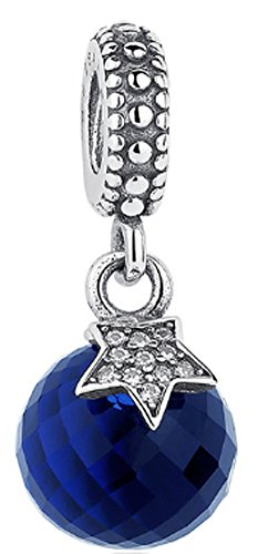 SaySure - 925 Sterling Silver Moon & Star Charm Blue Crystal (Blue Moon, Charm Blue)