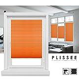 Grandekor - Tenda a rullo plissettata montaggio senza viti con morsetti e protezione solare, Plastica, Orange, 90x120