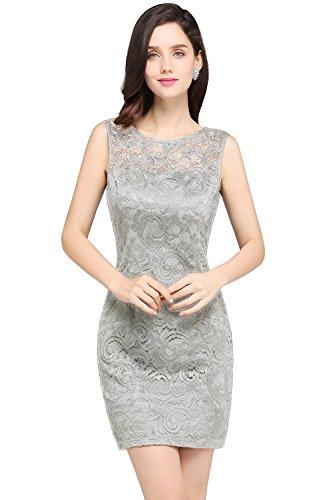 Babyonline® Abendkleid Ärmellos Kurz Brautjungfern Kleid Spitzen Slim Rundhals Damen Kleider Silber