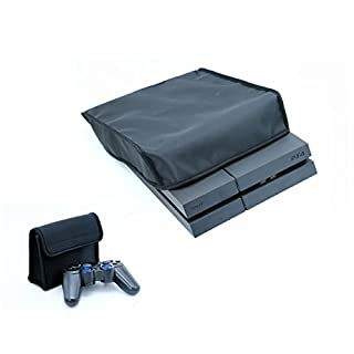 【Ambertech】SONY PS4専用防塵防水カバー 横置き コントローラー収納バッグ 2点セット 本体ホコリ防止カバー コントローラースッキリ収納