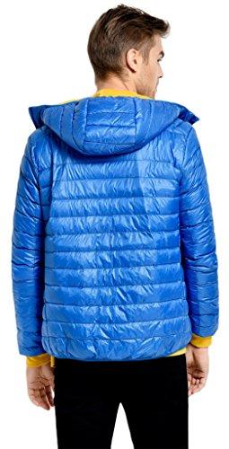 Sawadikaa Homme Ultra Légère Courte Doudoune Manches longues Parka Zippée Capuche Blouson D'hiver Veste en Duvet pour Bleu Ciel
