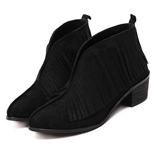 LvYuan-mxx Bottes femme / bottines / hiver chute Chaussures pointues / bottines en forme de V / confort Casual / Bureau & Carrière Robe / bas Talons hauts BLACK-38