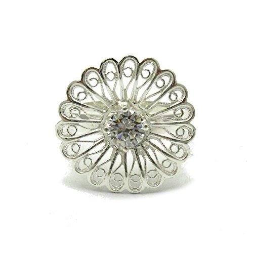 Sterling silber filigran Ring mit CZ 925 Empress Größe 46-69
