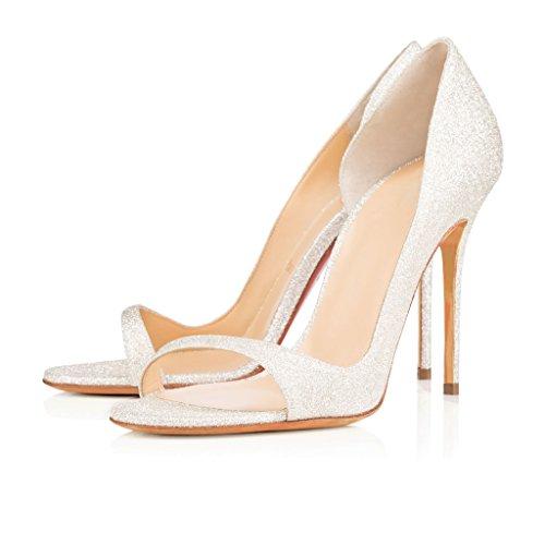 EDEFS Damen Peep Toe Pumps Offene High Heels Lack Stilettos Schuhe Glitzern
