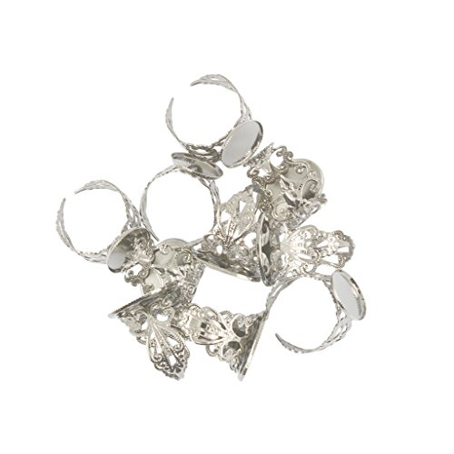 Homyl 10 Stück Verstellbare Messing Blank Lünette Filigran Blume Ring Diy Machen - Weiß
