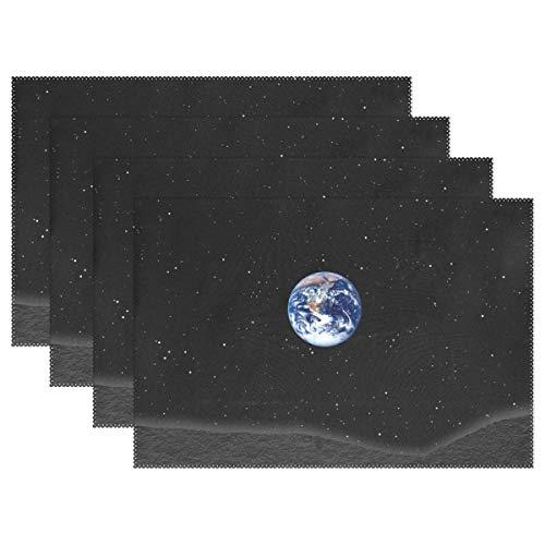 Orediy Tischsets Erde im Weltraum, Urlaub, Platzdeckchen, hitzebeständig, waschbar, Polyester, für Esszimmer, Küche, Tischdekoration, 45 x 30 cm, Polyester, Multi, 6 Pieces