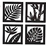 Generic Handmade Wooden Leaf Design Frame for Wall Hanging 4-Pieces Set, Black