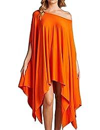 Blansdi Damen Sommer Beiläufig Unregelmäßige Oversize Schulterfrei Kurzarm Longshirt Top Blusekleid Casual Lose T-shirt-Kleid Schwarz Weiß