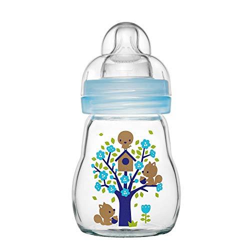 MAM Feel Good Babyflasche aus Glas (170 ml) - blaue Babyflasche mit weiter Öffnung - stabile Baby Trinkflasche mit Sauger Gr. 1, ab der Geburt, Naturmotive, blau