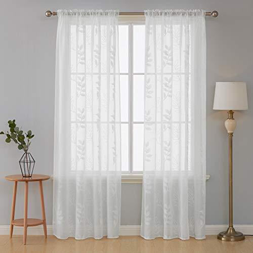 e Vorhänge mit Muster Blätter Stange Tasche Kinderzimmer Weiß 242x132 cm 2er Set ()