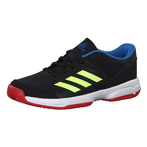 adidas Unisex-Kinder Court Stabil Jr Handballschuhe, Schwarz Core Black/Hi/Res Yellow/Active Red, 38 2/3 EU
