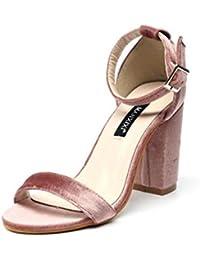 GLTER Mujeres Ankle Strap Bombas Simple Niza Salvaje Suede palabra zapatos de tacón alto Sandalias Negro Rosa , pink , 37