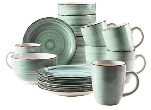 Mäser, Serie Bel Tempo, Frühstück-Set aus Steingut, 18-teilig für 6 Personen, Vintage Geschirr-Service, handbemalt, hellgrün