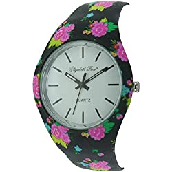 Elizabeth Rose Pink Black Floral Vintage Design Ladies Quartz Watch (02c)