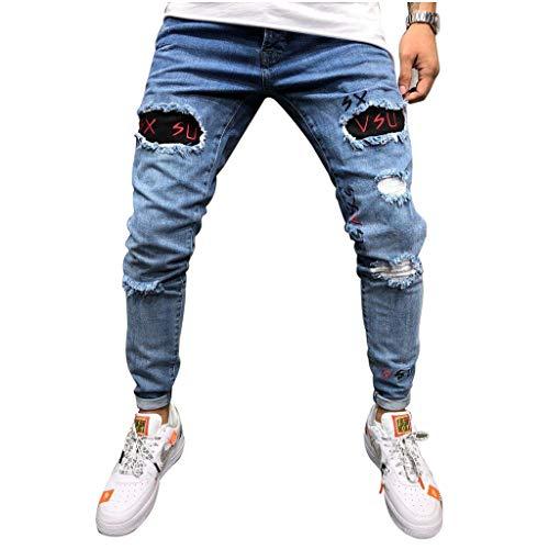 XZDCDJ Jeans Hosen für männer Slim fit Stretch Damen Boyfriend Mit Löchern Mode Denim Baumwolle Loch Straight Pocket Hose Distressed Jeans Hosen Pocket Mode Jean