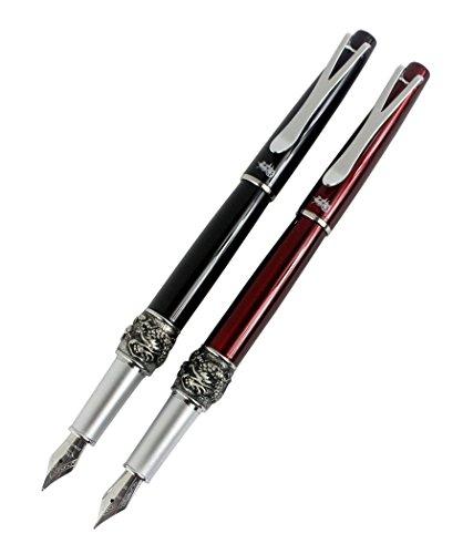2 piezas Jinhao Y2 pluma estilográfica dragón en 2 colores (negro, rojo oscuro) con bolsa de pluma y caja de regalo