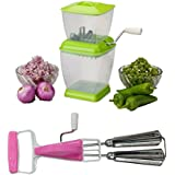 Onion, Vegetable ,Chopper With Manual Beater / Blender / Egg Beater - (Color May Vary)