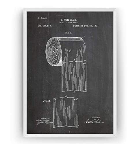 Papier Hygiénique 1891 Affiche De Brevet - Toilet Roll Impressions Prints Art Lavabos Toilette Salle De Bains Patent Posters Poster Cadeaux Décor Blueprint Plan - Cadre Non Inclus