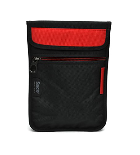 Saco Durable Pouch Soft Sleeve Carrying Bag Case with Shoulder Strap Zipper for Samsung Galaxy Tab A SM-T355YZWA Tablet 8 inch - Red