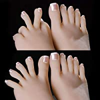 zhy 1 Pair Silicone Life Size Female Mannequin Foot with Bone Display Jewelry Sandal Shoe Sock Display Art Sketch with Nail