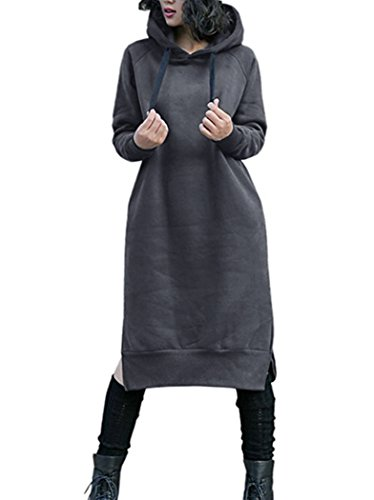 Nutexrol Damen Winter Hoodie Kapuzenpullover Lang Kapuzenjacke Sweatjacke Übergröße Kleider Sweatshirt Warm Outwear mit Fleece-Innenseite, Dunkelgrau, L