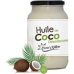 Huile de coco désodorisée pour utilisation alimentaire/cosmétique (pot: 1L/1kg). Sans odeur,goût,ni sucre pour la cuisine/patisserie. Bienfaits pour la santé:corps,visage,peau,cheveux,barbe