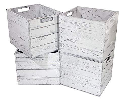 Kontorei® Holzkiste Vintage für Kallax Regale weiß/Weiss 33cm x 37,5cm x 32,5cm 6er Set Einlagekiste grau IKEA Kallax Obstkisten Weinkiste Expedit Einsatz