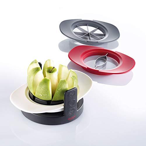Westmark Apfel-/Tomaten-/Mangoschneider, Stapelbar mit Schneidschale/Aufbewahrungsständer, ABS/Rostfreier Edelstahl, Tutti Frutti, Schwarz/Rot/Grau/Weiß, 51142260