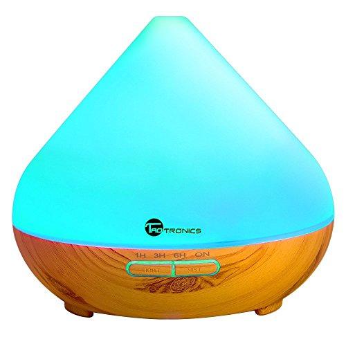 Humidificador Aromaterapia TaoTronics 300ml Difusor de Aceites Esenciales Difusor Aromas Ultrasónico (Luz nortuna, 2 modos, ambientador de vapor frío, 7 colores, auto-apagamiento) 13W para Yoga, Dormitorio