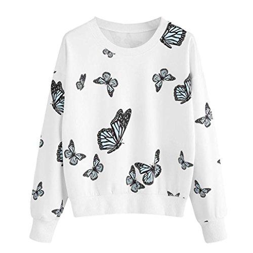 Damen Sweatshirt,Beikoard Damen Mode Schmetterlings Druck Langarm Casual Sweatshirt Pulli Herbst Winter Runder Hals Pullover Bluse T-Shirt Tops (Weiß, XXL) (Columbia Jacke-spiel)