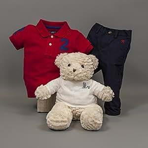 Coffret cadeau bébé Hackett Racing BebeDeParis – Rouge- panier cadeau bébé avec vêtements marque Hackett - Ensemble de Polo et pantalon - 100% coton- Taille 12 mois - coffret cadeau naissance - bouquet de layette -bouquet de naissance