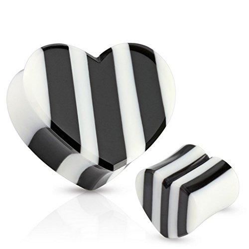 Piercing plug cœur et en bois organique noir et blanc Taille 25 mm