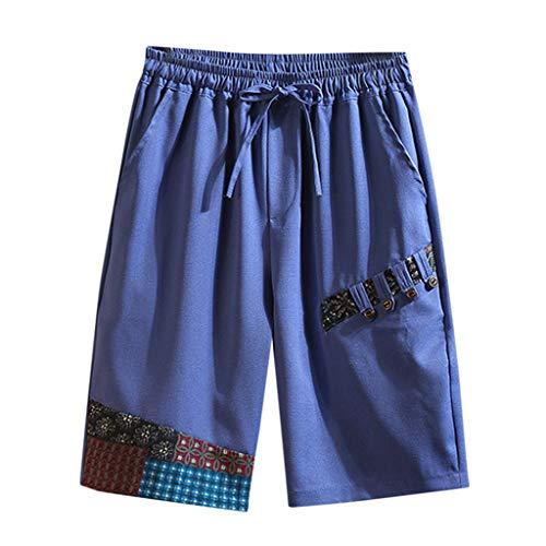 Xmiral Shorts Herren Gedruckte Patchwork Tunnelzug Kurze Hosen Slim Fit Cargohose Training Hose Arbeitshosen Sportshorts(Blau,5XL) Ag Jeans, Cord Jeans