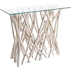 Consola vidrio y madera de teca , colección alejandria