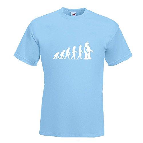 KIWISTAR - Evolution Roboter T-Shirt in 15 verschiedenen Farben - Herren Funshirt bedruckt Design Sprüche Spruch Motive Oberteil Baumwolle Print Größe S M L XL XXL Himmelblau