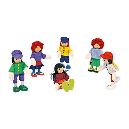 """Spielpuppen  Biegepüppchen """"6 Freunde"""" im Set, mit beweglichen Gliedern, die Puppen können sitzen, stehen und gestikulieren, für Kinder ab 3 Jahren"""