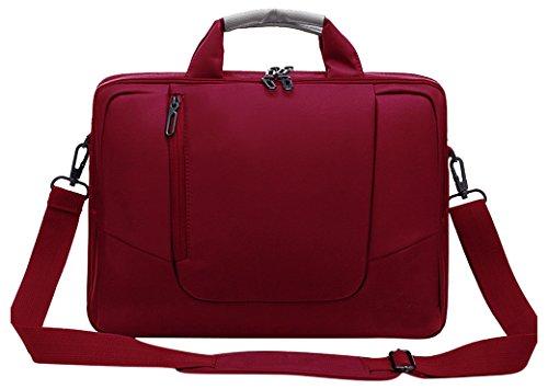 Laptop Umhängetasche aus weichem Nylon mit Schaumstoff gepolsterte Aktentasche, abnehmbarer Schultergurt - für 15,6-Zoll-Notebooks, Rot - von Rawboe (Jansport Laptop 17 Rucksack)