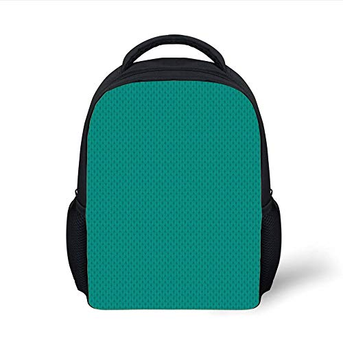 Kids School Backpack Teal,Knitting Inspired Pattern Sewing and Crafting Hobby Themed Design Monochrome Image Print,Teal Plain Bookbag Travel Daypack -