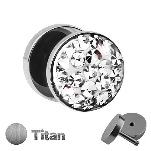 Treuheld | Titan Fake Plug mit KRISTALLEN - Titanium Ohrstecker zum Schrauben mit Zirkonia - Kirstall Ohr Fake Tunnel Piercing - Silber - mit Steinen und klarer Schutzschicht - Epoxy [1.] - klar